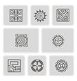 set of monochrome icons with American Indians art vector image vector image