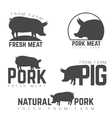 Set of pork emblems logotypes and labels isolated vector image vector image