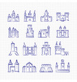 sketch medieval castles set on lined page vector image vector image