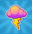 sticker electric lightning bolt with cloud vector image vector image