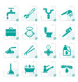 Stylized plumbing objects and tools icons