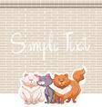 Three cats and brick wall vector image vector image