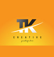 tk t k letter modern logo design with yellow vector image vector image
