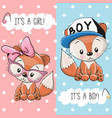 two foxes boy and girl vector image
