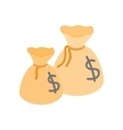 Two money bags with US dollar sign isometric icon vector image vector image