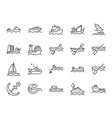 water transport icon set vector image