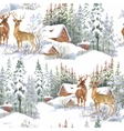 Watercolor winter forest landscape vector image vector image