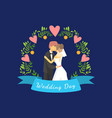 wedding day banner template with just married vector image