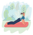 woman posture yoga with park background vector image vector image