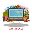 workplace concept in flat style modern design for vector image