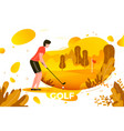 young sporty man playing golf vector image vector image