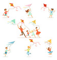 kids and their parents running with kite happy and vector image