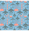 seamless pattern with military airplanes vector image