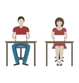 Man and Woman Working with Laptop vector image