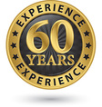 60 years experience gold label vector image vector image