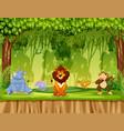 animals in jungle scene vector image