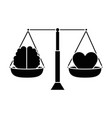 balance with heart and brain vector image