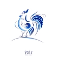Blue New Year Rooster vector image vector image