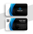business card template in blue and black colors vector image vector image