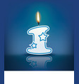 Candle number 1 with flame vector image
