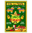 cinco de mayo mexican holiday party flyer vector image vector image
