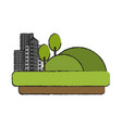 city buildings next to hills grass and trees icon vector image