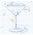 Clover Club Cocktail on a notebook page vector image vector image