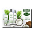 coconut cosmetics set promotion banner vector image vector image