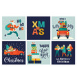 collection cute merry christmas and happy new vector image