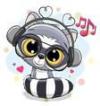cute cartoon raccoon with headphones vector image vector image