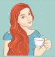 cute retro girl with cup tea vector image