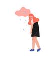 depressed teen girl under rain cloud teenage vector image vector image