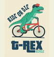 dinosaur on bicycle vector image