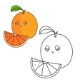 Educational game coloring book orange fruit vector image vector image