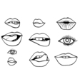 eyes and lips icons set vector image