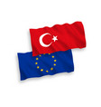 flags of turkey and european union on a white vector image