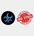 gears icon and grunge iso 27001 seal vector image vector image