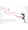 Girl silhouette with pink ribbon for breast cancer vector image vector image