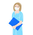 hand drawing young nurse in a medical mask vector image