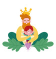 happy fathers day bearded man hugging a little vector image