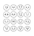 happy hand drawn funny smiley faces emoji icons vector image vector image
