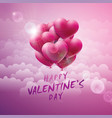 happy valentines day design with red balloon heart vector image