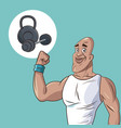 healthy man athletic muscular weight equipment vector image vector image