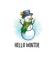 hello winter poster cute snowman in hand drawn vector image vector image