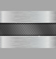 iron brushed metal texture with metal perforation vector image vector image
