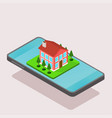 isometric house and smartphone vector image vector image