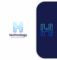 letter h technology line dot connection logo vector image vector image