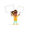 lovely african girl carrying two blank signboards vector image