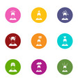 mood icons set flat style vector image