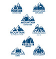 mountain icons for climbing or hiking sport vector image vector image